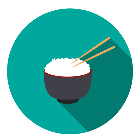bowl of rice with pair of chopsticks, vector Illustration