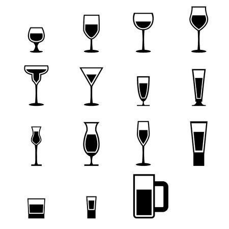copa de vino: Conjunto de iconos de la silueta de cristal con agua, vector