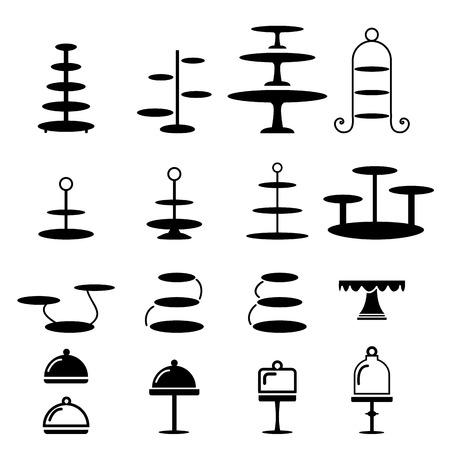 TORTA: Conjunto de soporte de la torta en la silueta icono, vector