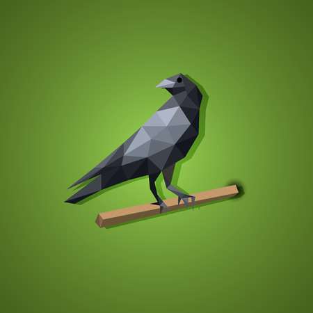 carrion: Black Raven bird vector in low polygon art, vector
