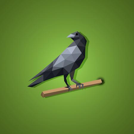 pajaro dibujo: Negro Cuervo vector del p�jaro en el arte bajo pol�gono, vector Vectores