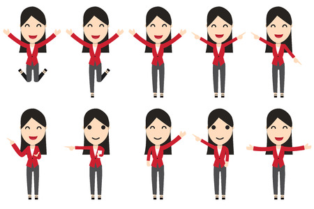 business woman: Set of business woman characters in movement, vector