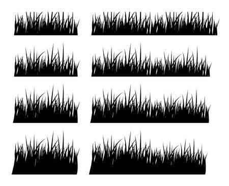 dessin noir et blanc: Ensemble de silhouette noire herbe dans diff�rentes hauteurs, vecteur