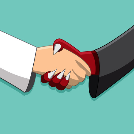 teamwork cartoon: Saint and demon handshake ,Peace time, Friendship in different race , No enemy in business. End of war, Partnership,corruption Illustration