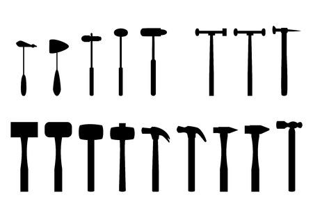 Ensemble de marteau à réflexe et la maison marteau en silhouette icône