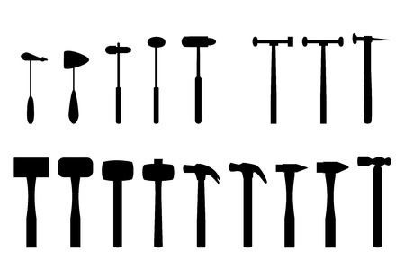 Set of reflex hammer and home hammer in silhouette icon Vettoriali