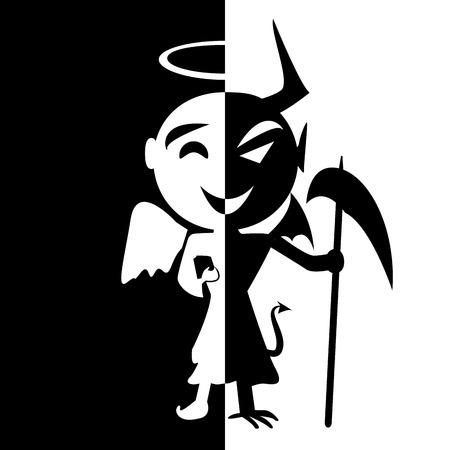 Bipolaire disorder.Smile van heilige en de satan, Engel en duivel in dezelfde persoon, goed of kwaad, nep man Stockfoto - 43556134
