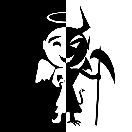 satan: Bipolar disorder.Smile del santo y satanás, Ángel y diablo en una misma persona, el bien o el mal, el hombre falso Vectores