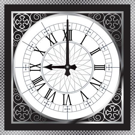 numeros romanos: Reloj del metal del oro blanco de lujo con números romanos y el patrón de frontera Vectores