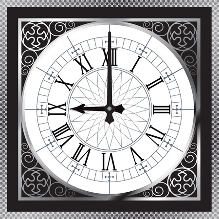 Luxury white gold metal clock with Roman numerals and pattern boarder
