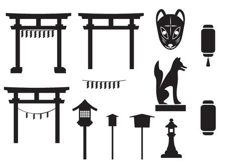 Objet traditionnel au Japon, porte japon, le masque de renard, renard sculpture, l'étiquette et la bannière, lampe et lanterne Banque d'images - 43556204
