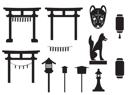 traditional object in japan, japan gate, fox mask, fox sculpture, label and banner, lamp and lantern