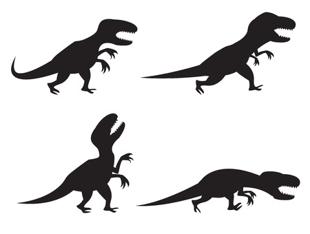 Black Silhouette of T-rex and Velociraptor in movement, angry,run, roar and hunting 矢量图像