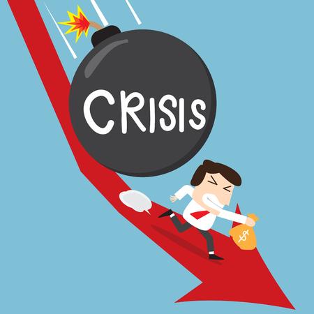 runaway: hombre de negocios la celebraci�n de su dinero fuera de control de la bomba de la crisis en la acci�n abajo situaci�n tendencias