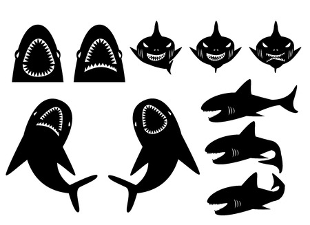 shark teeth: Collection of sharks silhouette in cartoon style. front, under and side view Illustration