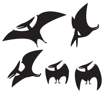 mesozoic: set of Pterodactyl silhouette, vector illustration Illustration