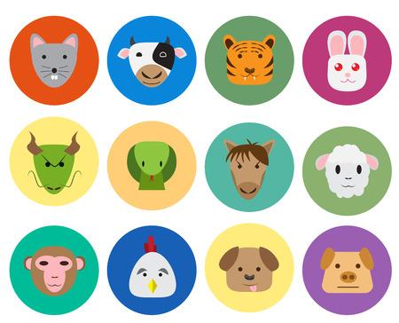 rata caricatura: Chino del zodiaco icono de 12 animales en el estilo plano lindo y simple. aislado objeto vectorial. Vectores