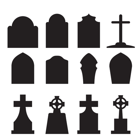 Set of headstone and tombstone silhouette in europe style. vector illustration. Vettoriali