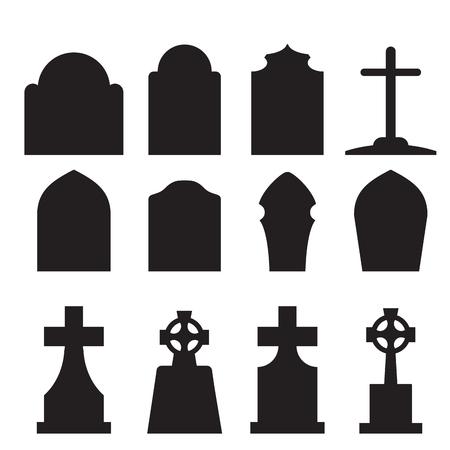 Set van grafsteen en grafsteen silhouet in europa stijl. vector illustratie.