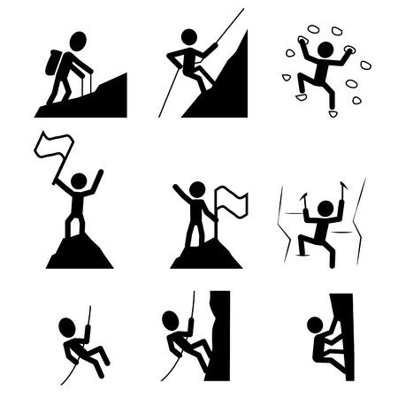trepadoras: Trekking y escalada en icono. Conjunto de extrema símbolo deporte. ilustración vectorial Vectores