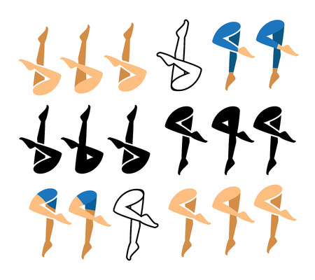 synchronized swimming icon and symbol in many style.vector illustration.