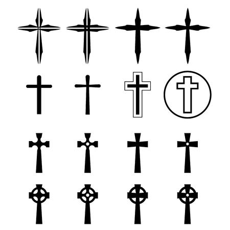 holy  symbol: Conjunto de crucifijo y cruzar la silueta con un estilo moderno. ilustración vectorial.