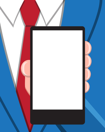 business phone: Business man with empty screen smart phone for your advertisement. vector illustration background.