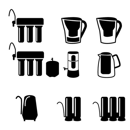 water filter: Set of water filter in black silhouette icon style, isolated on white background. Reverse osmosis system.