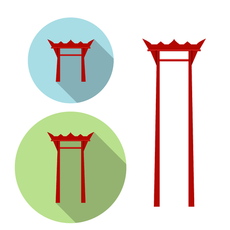 torii: Oscilaci�n gigante, icono puerta torii, vector Vectores