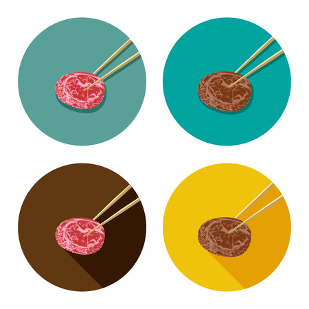 browned: Piece of meat is holding with chopsticks in flat icon style. Japanese, Korea, Chinese restaurant logo