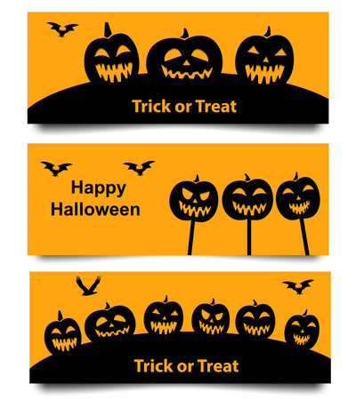 ghost town: Set of Website spooky header and banner with Halloween pumpkin and bat. isolated object