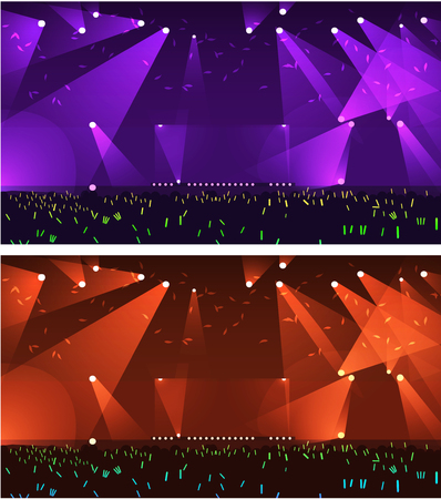 Set of empty stage Rock concert event with spot light vector background with happy people raising up their light stick and light sakura on sky Ilustracja