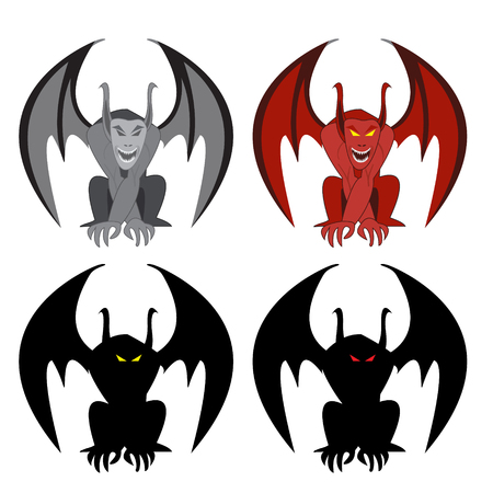fiend: Stone gargoyle statue ,red demon gargoyle and silhouette . front view. isolated object