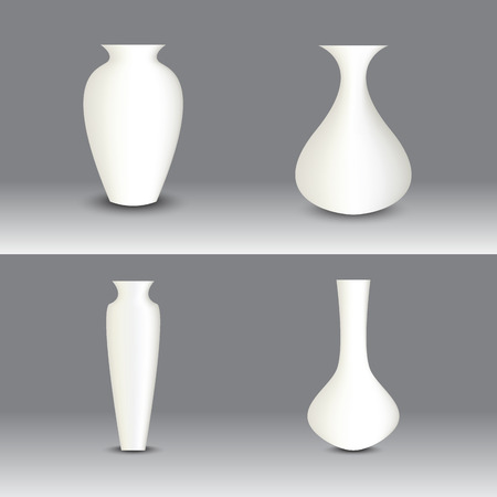 White vase set, vector object