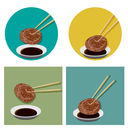 Piece of meat is holding with chopsticks and shoyu sauce in flat icon style. Japanese, Korea, Chinese restaurant logo. Illustration