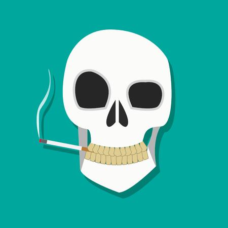 흡연자: Human smoker skull hold cigarette on mouth with dirty teeth in flat icon style, smoker icon