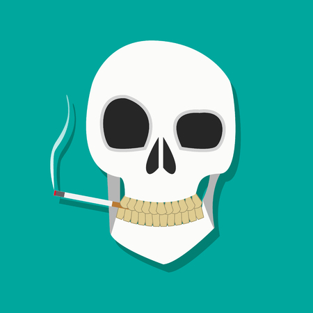 people laptop: Human smoker skull hold cigarette on mouth with dirty teeth in flat icon style, smoker icon