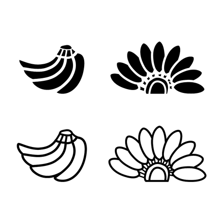 bunch of bananas icon and logo in silhouette