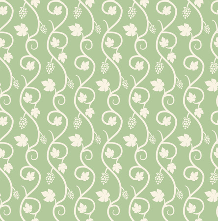 Chain of grape ivy seamless pattern, vector