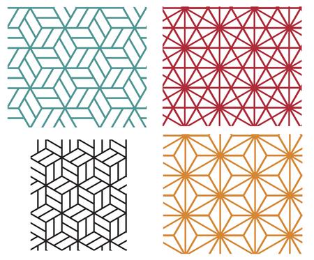 lineal: Colección de la estrella de cuatro colores y cubo en los modelos del vector de estilo de línea geométrica