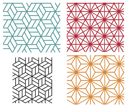 Collection of four color star and cube in geometric line style vector patterns Stock Illustratie