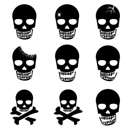 crossbones: Set of Skull and crossbones icon vector