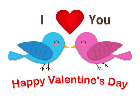 couple cute bird are in love isolated on white. valentine card