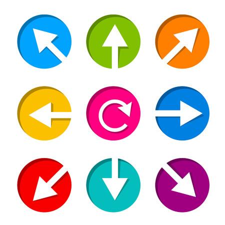 Set of white arrow icon in circle