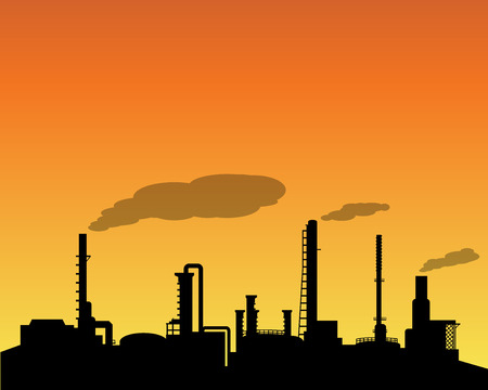 Oil refinery industry silhouette in daytime, vector