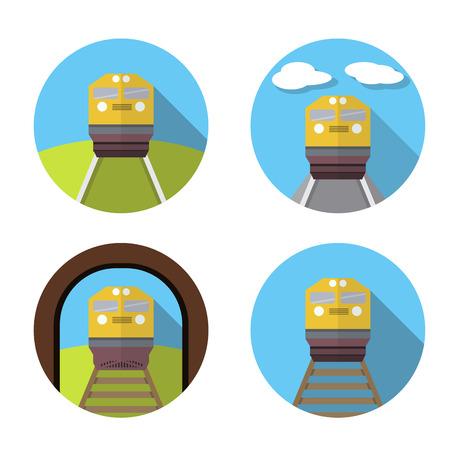 tren caricatura: Conjunto de icono de tren en estilo plano