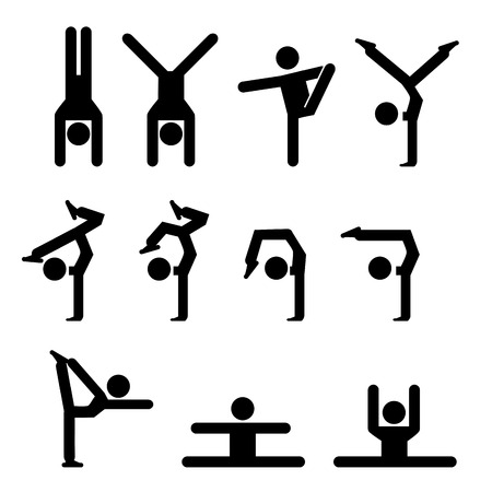 Set of gymnastics icon in silhouette style