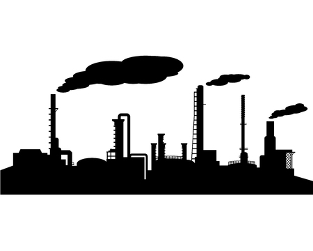 smokestack: Oil refinery industry silhouette vector Illustration