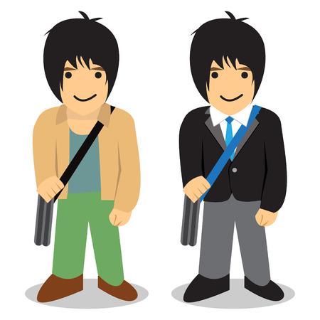 freelance: Twin man, Freelance vs office man, vector