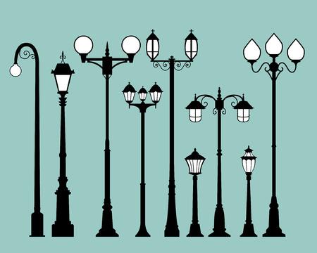 フラット スタイルで街路灯のセット, ベクトル  イラスト・ベクター素材